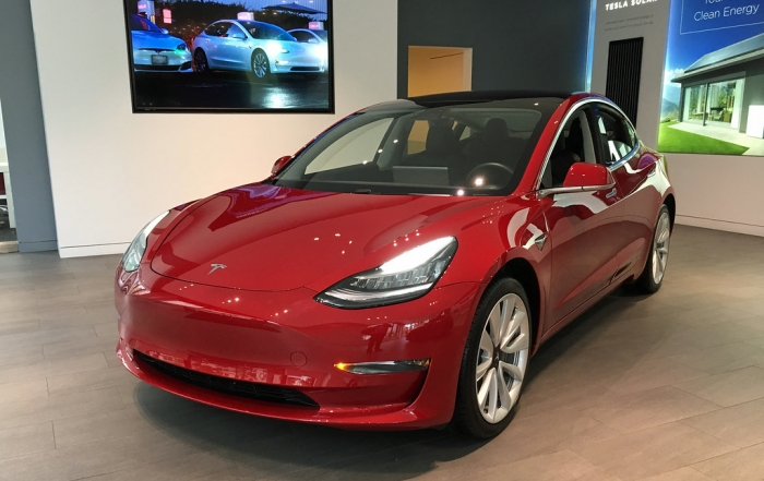 Tesla Model 3 exhibited at Tesla's showrroom in Washington D.C.